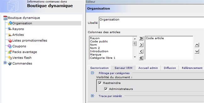 Configuration du BackOffice Organisation